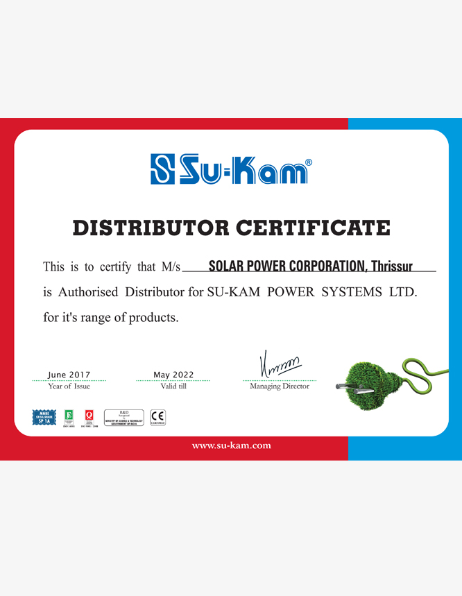 sukam distributor cirtificates